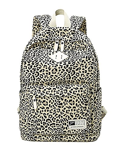 Leopard Students Print Style Travel Capacity Bag Backpack Backpack School Moollyfox Women Preppy Black Large For 5Owq4BBx