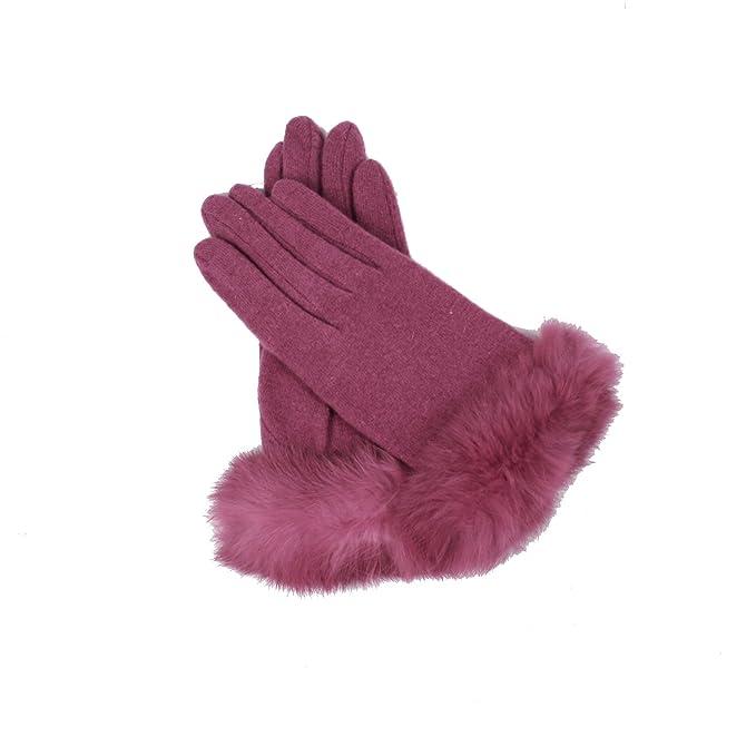4d61a20a58e84d Amazon   【ピンク】「なでしこ」 ラビットファー付きウール混レディース ...