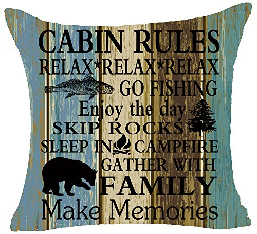 Retro Vintage Wood Grain Background Wildlife Cabin Rules Relax Enjoy The Day Holiday Moose Pine Tree Cotton Linen Throw Pillowcase Personalized Cushion Cover NEW Home Decorative Square 18 X 18 Inches ()