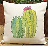 Fresh Hand-painted Watercolor Tropical Rainforest Plants Cactus Echinopsis Tubiflora Cotton Linen Decorative Throw Pillow Case Cushion Cover Square 18 X18 Inches