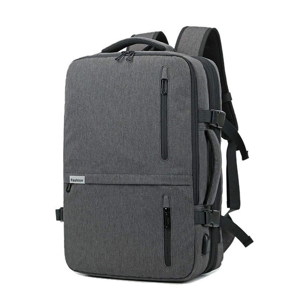 ノートパソコンのバックパック、旅行バッグを充電するビジネススクールの防水バッグ多機能USBは、カジュアルなコンピュータ15.6インチに最適です 色:グレーサイズ:L   B07PNHF7ZL