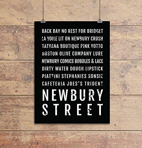 Newbury Street Print, Boston Subway Sign Poster, Boston Wall Art, Décor, Canvas, Gift, Bus Scroll, Typography, Minimal, Custom, - Map Street Boston Newbury
