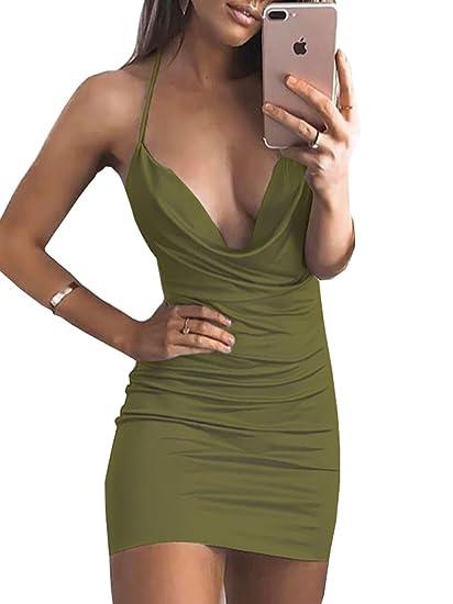 3773c25460c Dovee Women s Deep V Neck Spaghetti Strap Midi Dress Backless Sleeveless Bodycon  Club Dress