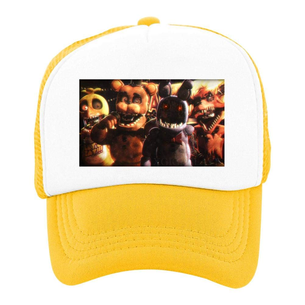 EThomasine Kids Girls Boys Mesh Cap Trucker Hats Remember Us Five Nights Adjustable Hat Yellow
