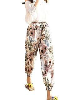 Eté Pantalon De Loisirs Femme Impression Modèle avec Multi-Poches Taille  Élastique Fille Vêtements Taille Haute Bouffant… 2156cd7fa2f4