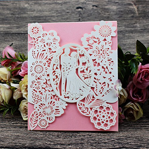 Laser Cut Wedding Invitations 40 pack, FOMTOR Laser Cut Wedding Invitation Card Kit with Blank Printable Papers and Envelopes (Pink)