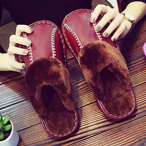 CWAIXXZZ pantoufles en peluche Chaussons en coton dhiver femelle couple hiver chaud épais antidérapant intérieur peluche imperméable Chaussons en cuir hommes et rester ,25cm (35-36 mètres), rouge