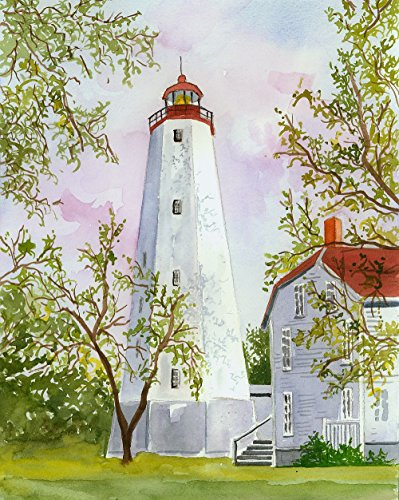 Sandy Hook Lighthouse, New Jersey, by Jean Andrew. Matted Watercolor Art Prints