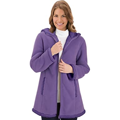 Women's Polar Fleece Sherpa Lined Zip Up Coat Machine Washable at