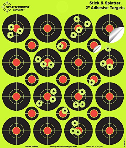 Splatterburst Targets - 2 inch Adhesive Stick & Splatter Reactive Shooting Targets - Gun - Rifle - Pistol - Airsoft - BB Gun - Pellet Gun - Air Rifle (25 Pack)