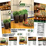 Home Chef Herbs [Mexican Variety] Herb & Pepper Seeds - Non GMO - Jalapeno Seeds, Tomatillo Seeds, Anaheim Peppers Seeds, Cilantro Seeds, Poblano Peppers - Heirloom Hot Salsa Seeds