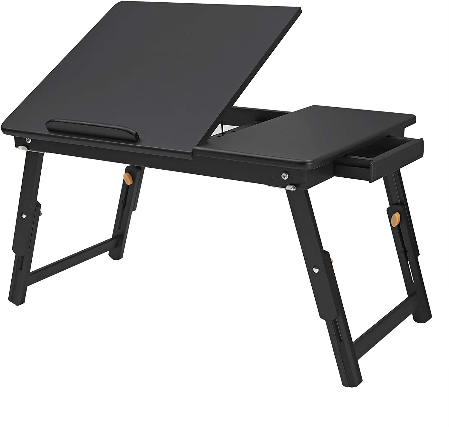 SONGMICS Multi-Function Lapdesk Table, Foldable Bed Tray, Adjustable Breakfast Table, with Tilting Top, Storage Drawer, Bamboo Wood, Black ULLD01BK