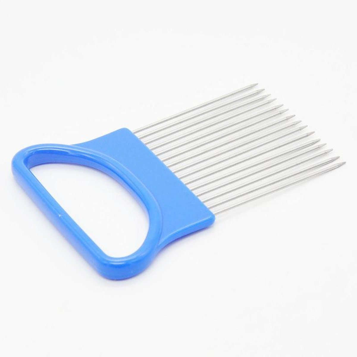 Tacoli- Kitchen Gadgets Handy Stainless Steel Onion Cutter Holder Potato Tomato Slicer Vegetable Fruit Cutter Safety Cooking Tools (BLUE)