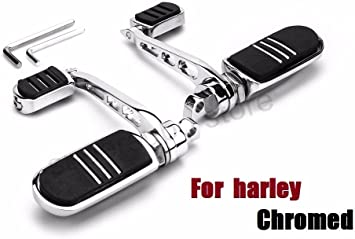 US Chrome Motorcycle Highway Foot Rest w//Male Mount Pegs For Harley Touring Dyna