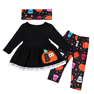 672bacc83a5a6 Image Unavailable. Image not available for. Color: Toddler Baby Girls Cute Pumpkin  Shirt Dress Leggings Pant Headband Halloween Outfits