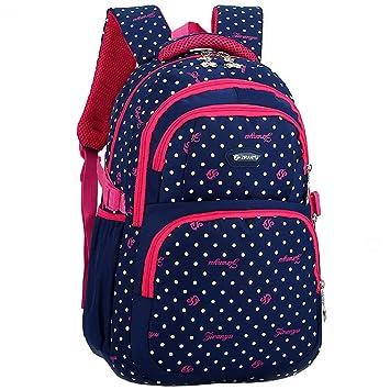 DAZISEN Mochila Escolar para Niños - Correa de Hombro Gruesa Mochilas Dot Book Bag para Niñas (Azul Oscuro): Amazon.es: Equipaje