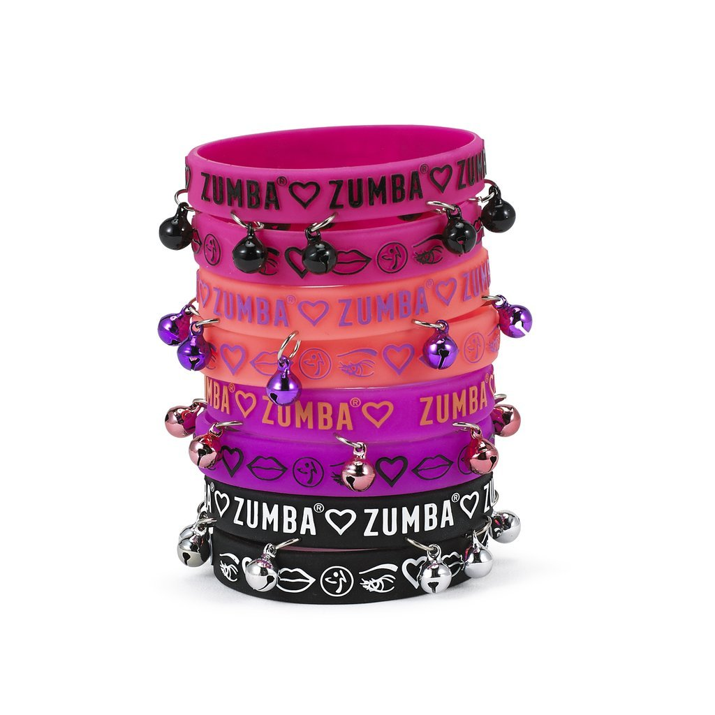 Zumba Has My Heart Rubber Bracelets 8pk (4 with bells)(4 without bells)