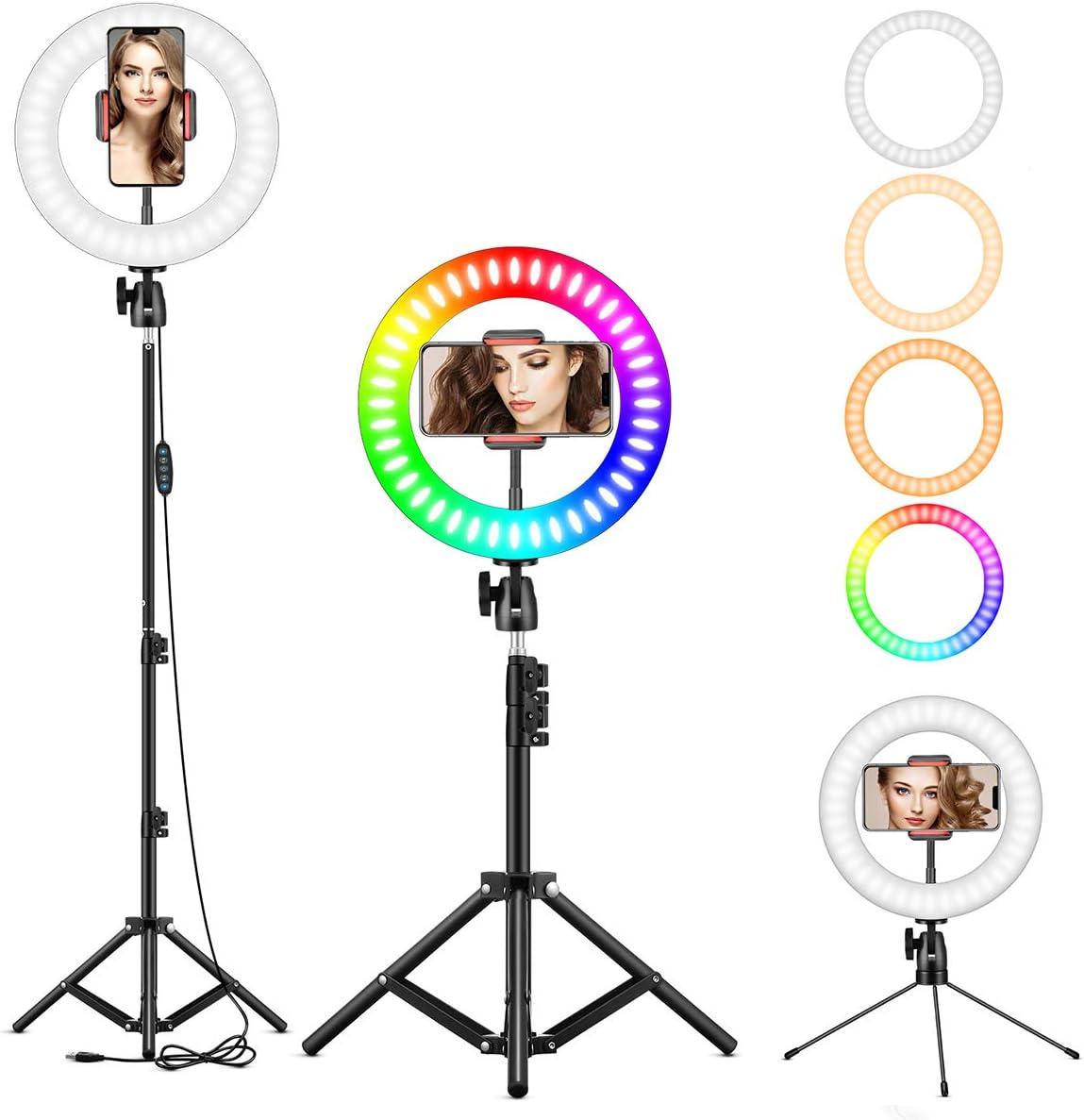 6500 K avec tr/épied et Support pour t/él/éphone Portable pour Flux en Direct//Maquillage//Youtube//TikTok//Photographie lumi/ère LED 3200 Anneau Lumineux pour Selfie RVB de 25,4 cm