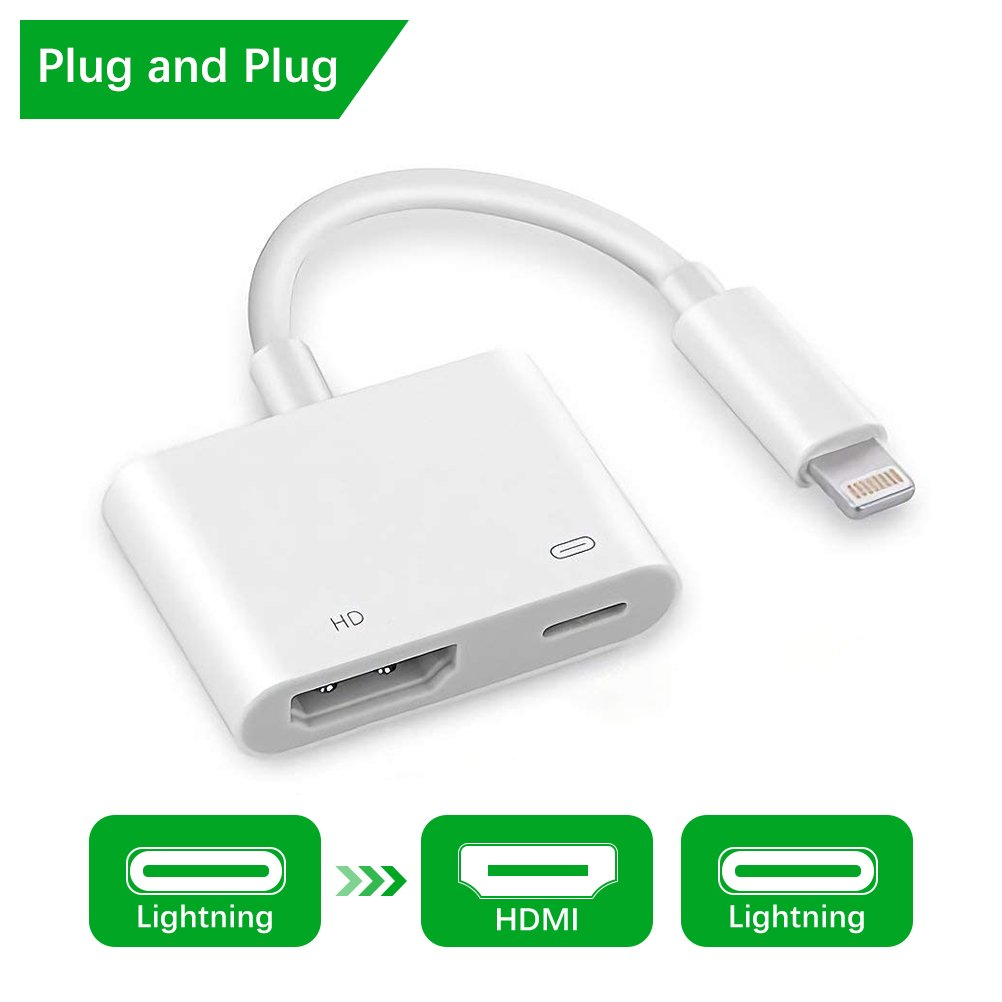 Lightning to HDMI - Lightning Digital AV Adapter with 1080P HDMI and Lightning Charging Port, Lighting to TV Projector Monitor Converter for iPhone/iPad/iPod (Not Support Netflix)