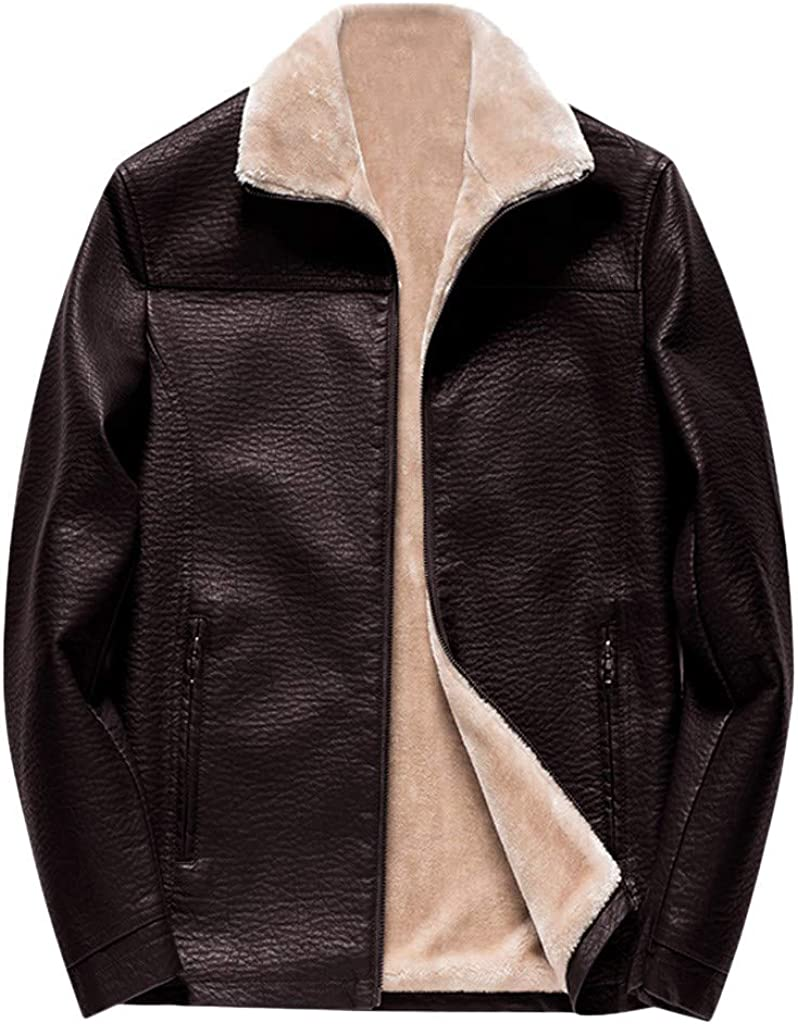 Willow S Mens Plush Slim Leather Jacket Solid Color Zipper Plush Lining Lapel Warm Thick Motorcycle Leather Jacket