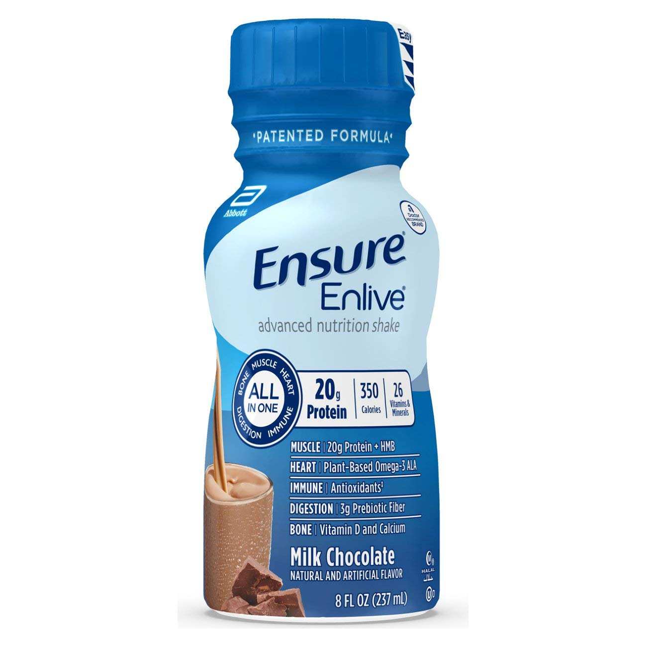 Ensure Enlive Meal Replacement Shake, 20g Protein, 350 Calories, Advanced Nutrition Protein Shake, Milk Chocolate, 8 fl oz, 16 Bottles