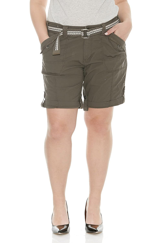 Size 2-22 Plus S47050PARENT Suko Women/'s Cargo Bermuda Shorts Adjustable Length with Belt