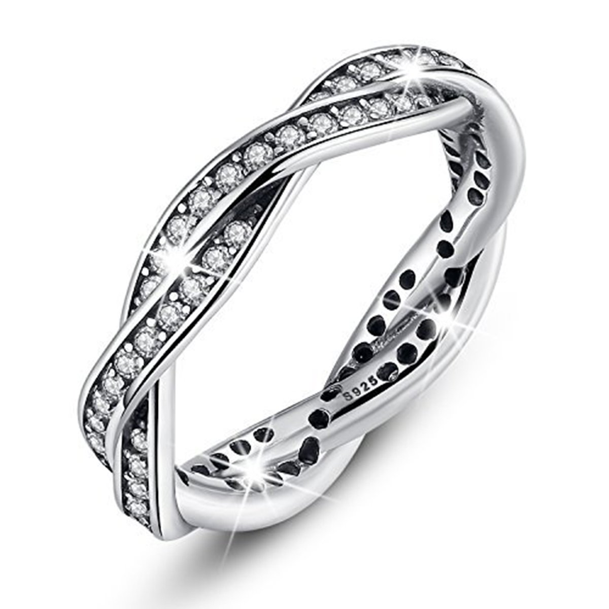 BAMOER White Gold Plated Eternity CZ Promise Wedding Band Ring for Women,Size 6