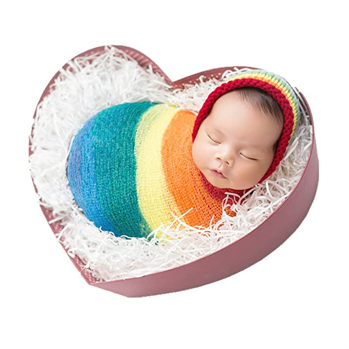 Newborn Monthly Baby Photo Props Outfits Rainbow Hat Wrap Blanket for Boy  Girls Photography Shoot ( 1544313a63ec