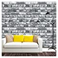 "HaokHome 22073 Realistic Faux Brick Wallpaper Black/Grey/White for Home Kitchen Decor 20.8"" x 31ft"