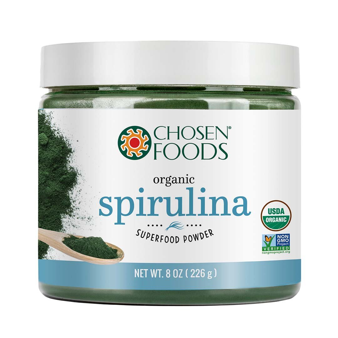 Organic Spirulina 8 oz. Purest Premium Green Superfood Powder, Vegan and USDA Certified for Quality, Safety, Maxiumum Nutrient Density by Chosen Foods by Chosen Foods
