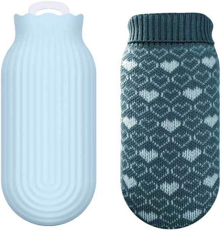 ADNIKIA Botellas de Agua Caliente para Microondas con Funda de Punto Suave Extraíble, Bolsa de Viaje de Silicona Segura para Bebés, Bolsa de Calentamiento de Manos para Niños/Niñas/Mujeres/Cumpleaños