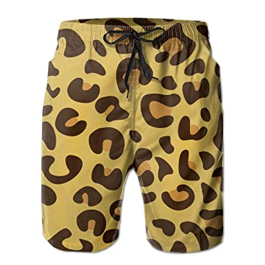 FASUWAVE Mens Swim Trunks Leopard Quick Dry Beach Board Shorts with Mesh Lining