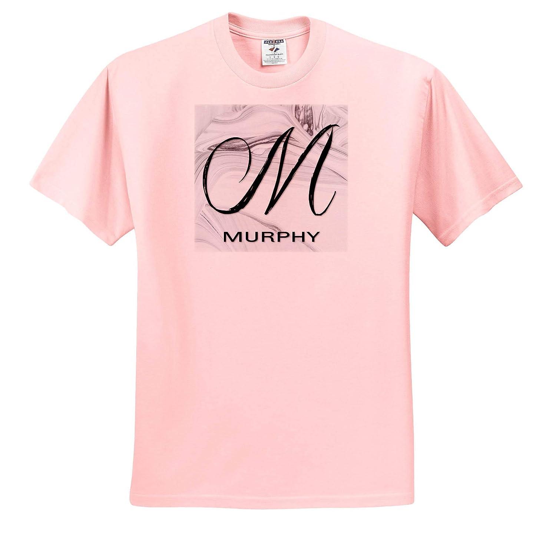 3dRose BrooklynMeme Monograms White Marble Monogram M T-Shirts Murphy