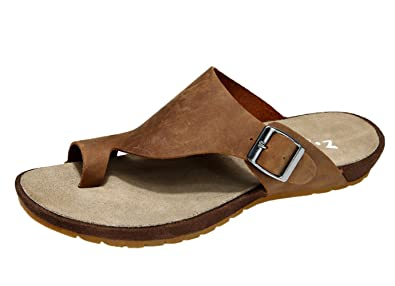 206ed91b04b5a Amazon.com | DQQ Men's Brown Crazy Horse Thong Sandal 7.5 US | Sandals