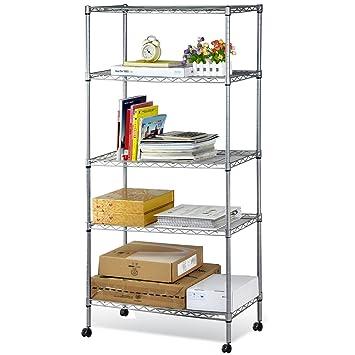 Amazon.com: 5 Tier Metal Wire Rolling Shelf Storage Kitchen Garage ...