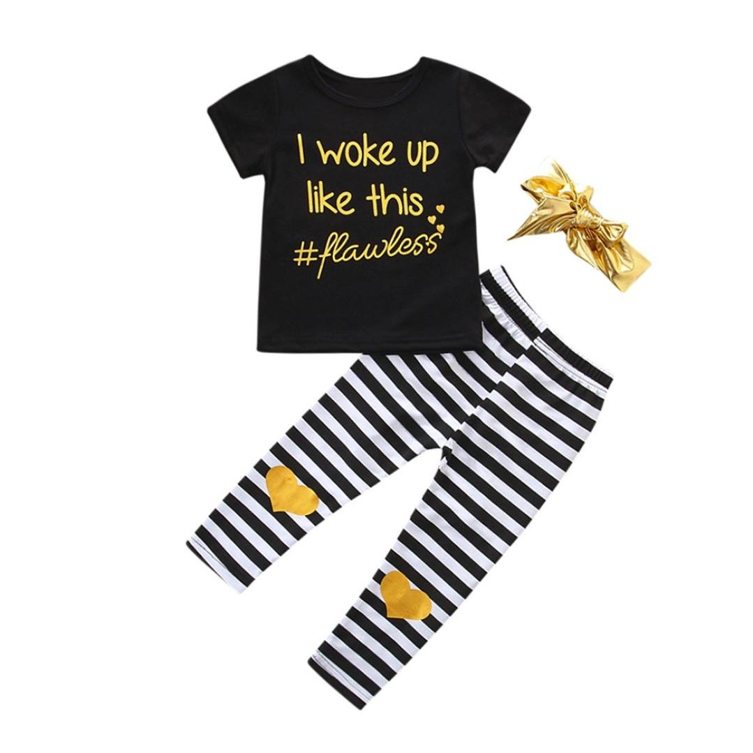 Baby Clothes For 0-24 Months❤️Internet 3Pcs Baby Girls Letter T shirt Tops+Pants+Headband Outfits Clothes Set (0-6months, Black) Internet_8810
