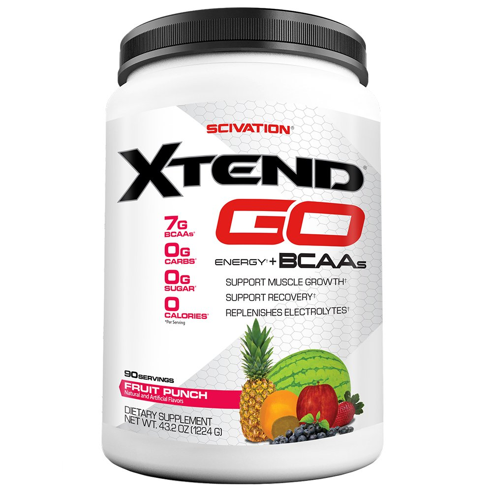 Scivation Xtend Go Amino Energy BCAA Powder for Pre Workout or Anytime Energy, BCAAs, Fruit Punch, 90 Servings by Scivation (Image #1)