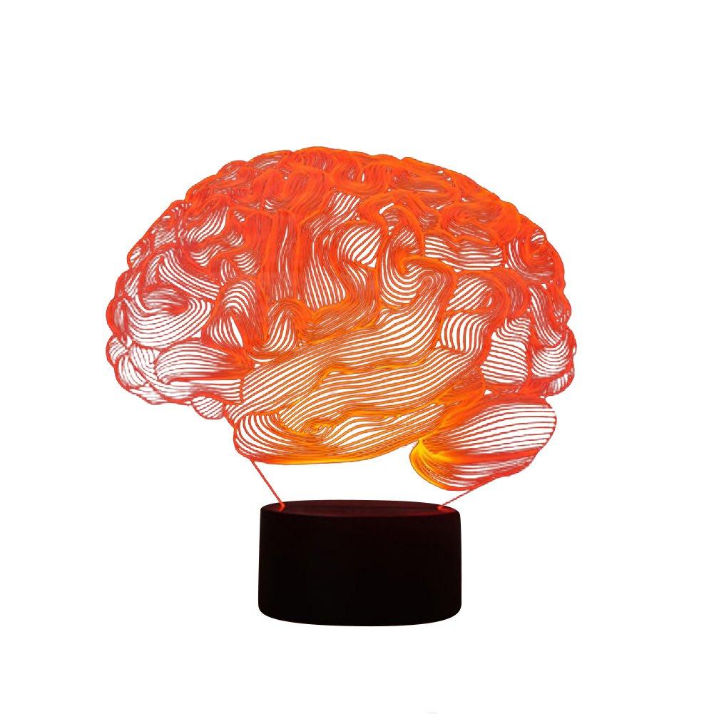 lightclub 3D Panel Brain Acrylic USB Charging Colorful LED Night Light Bedside Decor Lamp 1