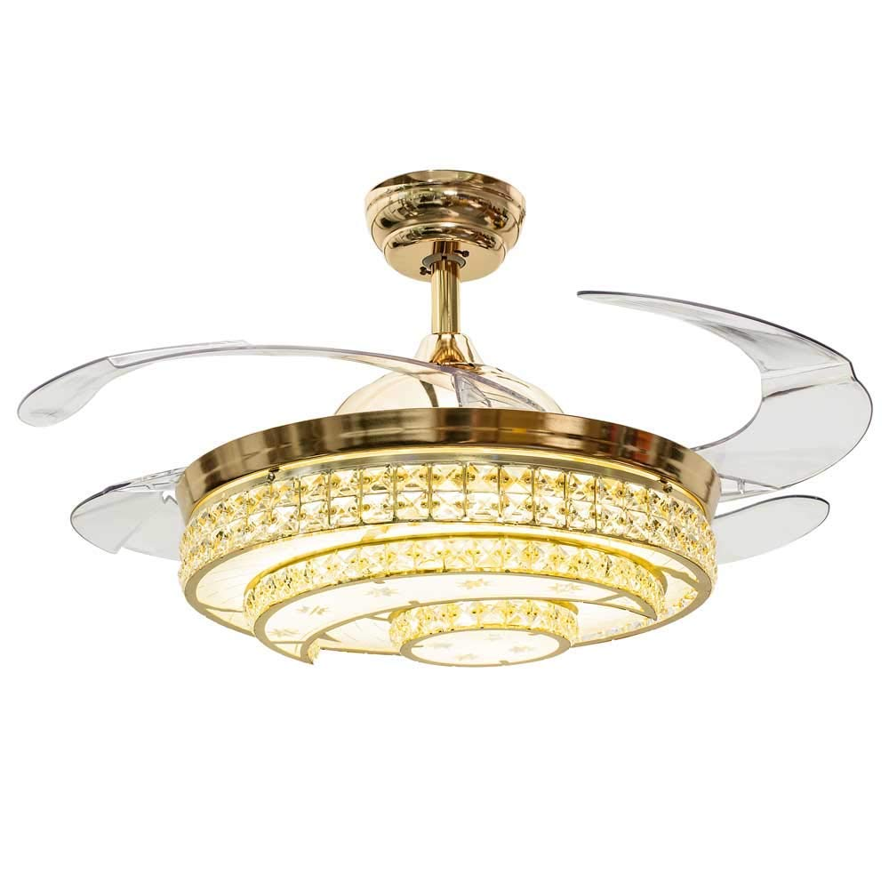 Rs Lighting 42 Inch Ceiling Fans With Led Lights Crystal Moon And Round Circle Design Lampshade And Retractable Blades Third Gear Ceiling Fan Chandeleir For Indoor Living Bed Room Gold A Ceiling Fans