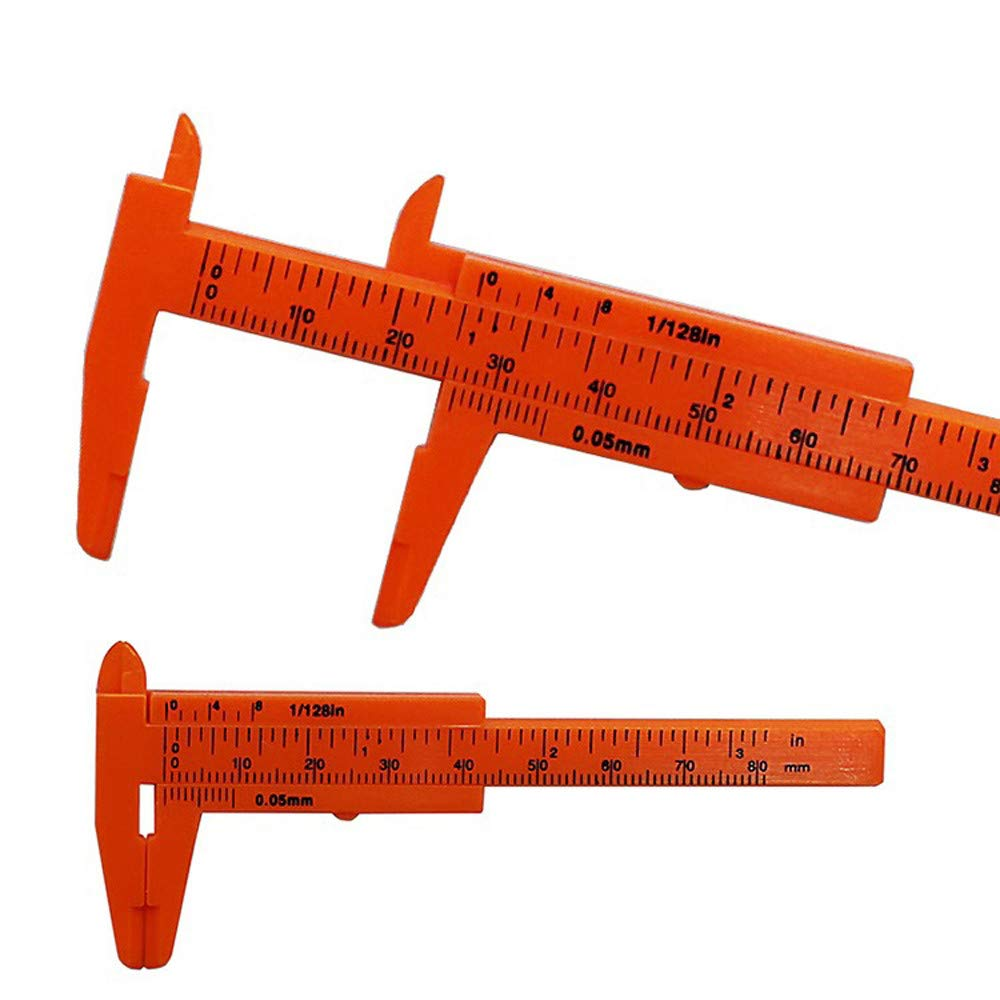 Hisoul Double Scale Plastic Vernier Caliper - 80mm Mini Student Sliding Vernier Caliper Gauge Measurement Tool (Orange)