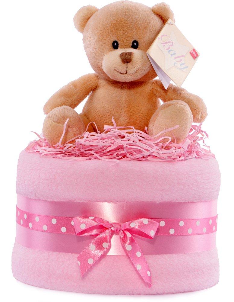 Hug Ours Blanc et Rose Baby Shower gâteau de couches–Filles Pure Nappy Cakes Ltd