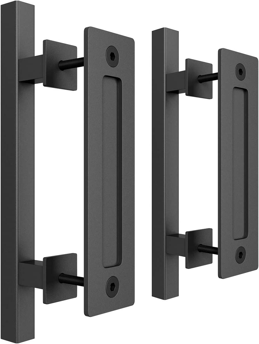 Black Powder Coated Finish SMARTSTANDARD Heavy Duty 12 Pull and Flush Barn Door Handle Set Large Rustic Two-Side Design for Gates Garages Sheds Furniture Square 2PCS
