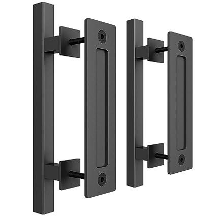 "smartstandard heavy duty 12\"" pull and flush barn door handle set, large rustic two side design, for gates garages sheds furniture, black powder coated"