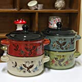 Set of 4 Ceramic Soup Bowls with Lid and Handles Cereal Casserole Dish Red Blue Green Beige