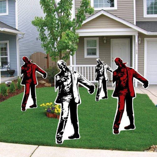 Zombie Halloween Lawn Decoration set of 4 w/ 8 EZ Stakes