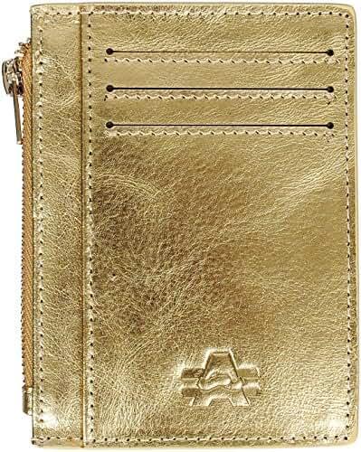 Angel Cola Men's Metallic Genuine Leather Slim Zipper Card Holder Wallet
