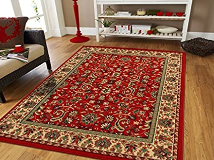 Amazoncom Large Persian Rugs For Living Room 8x11 Red Green Beige