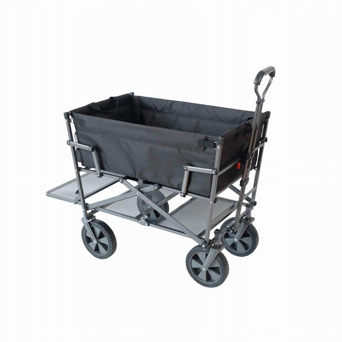 Mac Sports Heavy Duty Steel Double Decker Collapsible Yard Cart Wagon, Black (2 Pack)