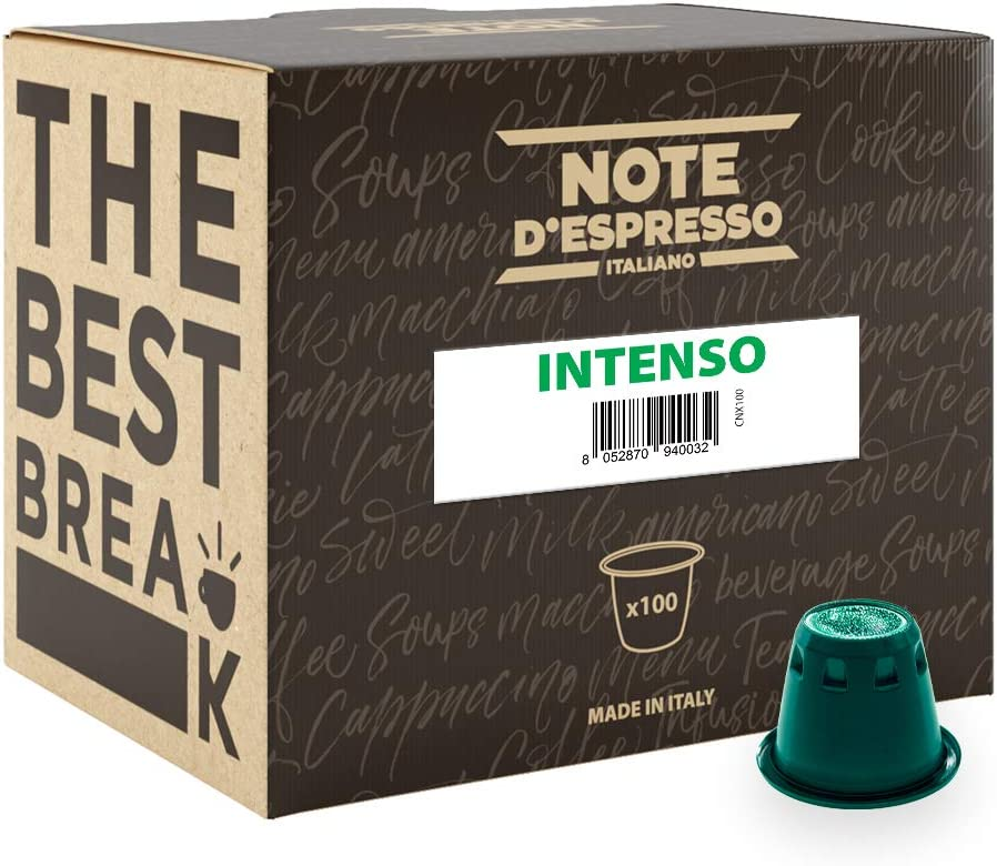 Note D'Espresso Cápsulas de Café Intenso exclusivamente compatibles con cafeteras Nespresso* - 100 Unidades de 5.6g, Total - 560 g