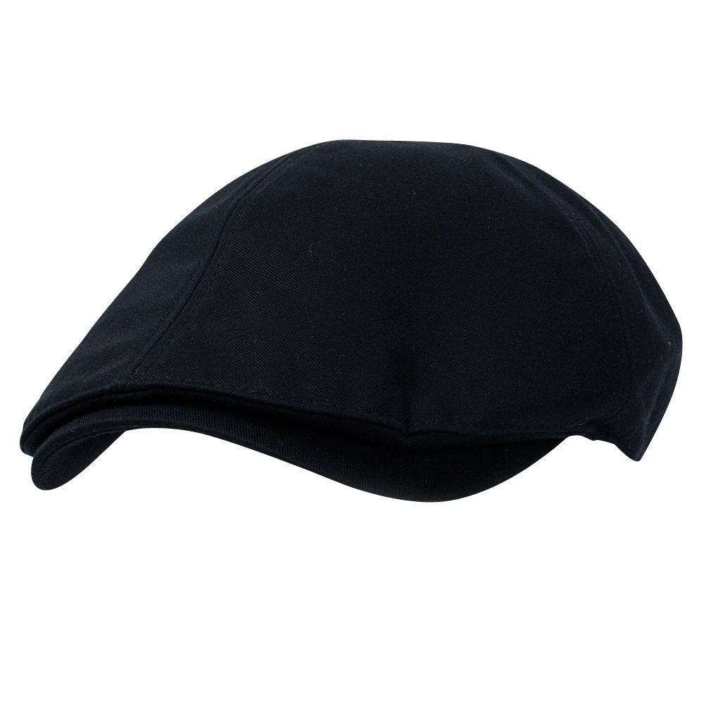 ililily New Men¡¯s Cotton Flat Cap Cabbie Hat Gatsby Ivy Caps Irish Hunting Hats Newsboy with Stretch fit - 004-2, Black, Medium Size 7 1/8 - 7 1/4